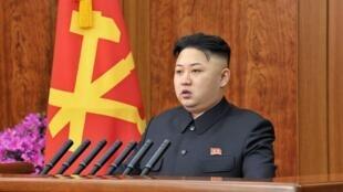 Lãnh đạo Bắc Triều Tiên Kim Jong Un đọc diễn văn nhân dịp năm mới, Bình Nhưỡng, ngày 01/01/2013