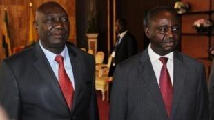 Michel Djotodia (g.) et l'ex-président centrafricain François Bozizé (d.), le 11 janvier 2013.