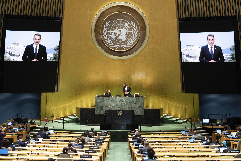 La diffusion du message du Premier ministre grec Kyriakos Mitsotakis lors de l'Assemblée générale de l'ONU le 25 septembre 2020.