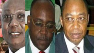 Martin Ziguélé (G) Emile Nakombo (C) et Jean Jacques Demafouth (D), trois candidats de l'opposition à la présidentielle centrafricaine