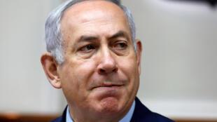 O primeiro-minsitro de Israel, Benjamin Netanyahu  em Jérusalem,  15 de Abril 2018.