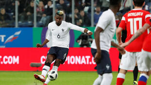 France's Paul Pogba scores during the Russia vs France match at the Saint-Petersburg Stadium on 27 March 2018
