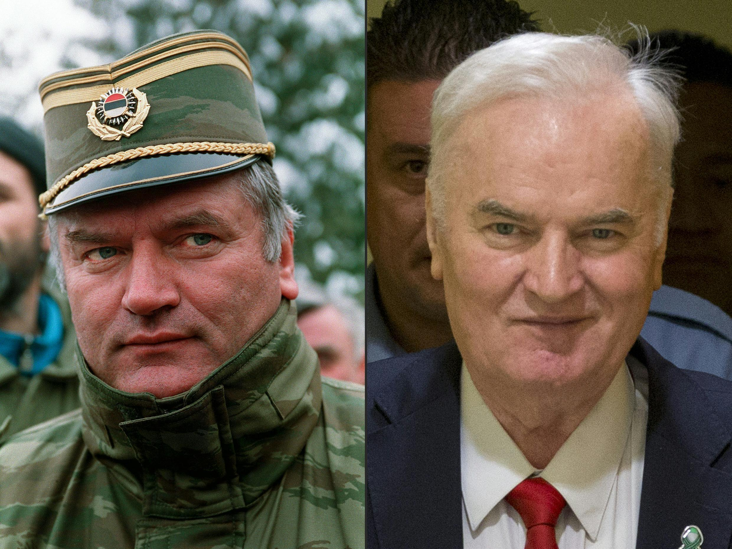 """Former Bosnian Serb military chief Ratko Mladic was dubbed """"the butcher of Bosnia"""" by media across the world after the Srebrenica massacre in 1995"""
