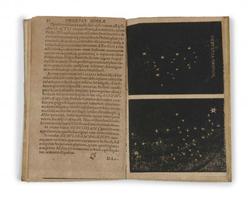 Interior del Sidereus Nuncius con ilustraciones del cielo.
