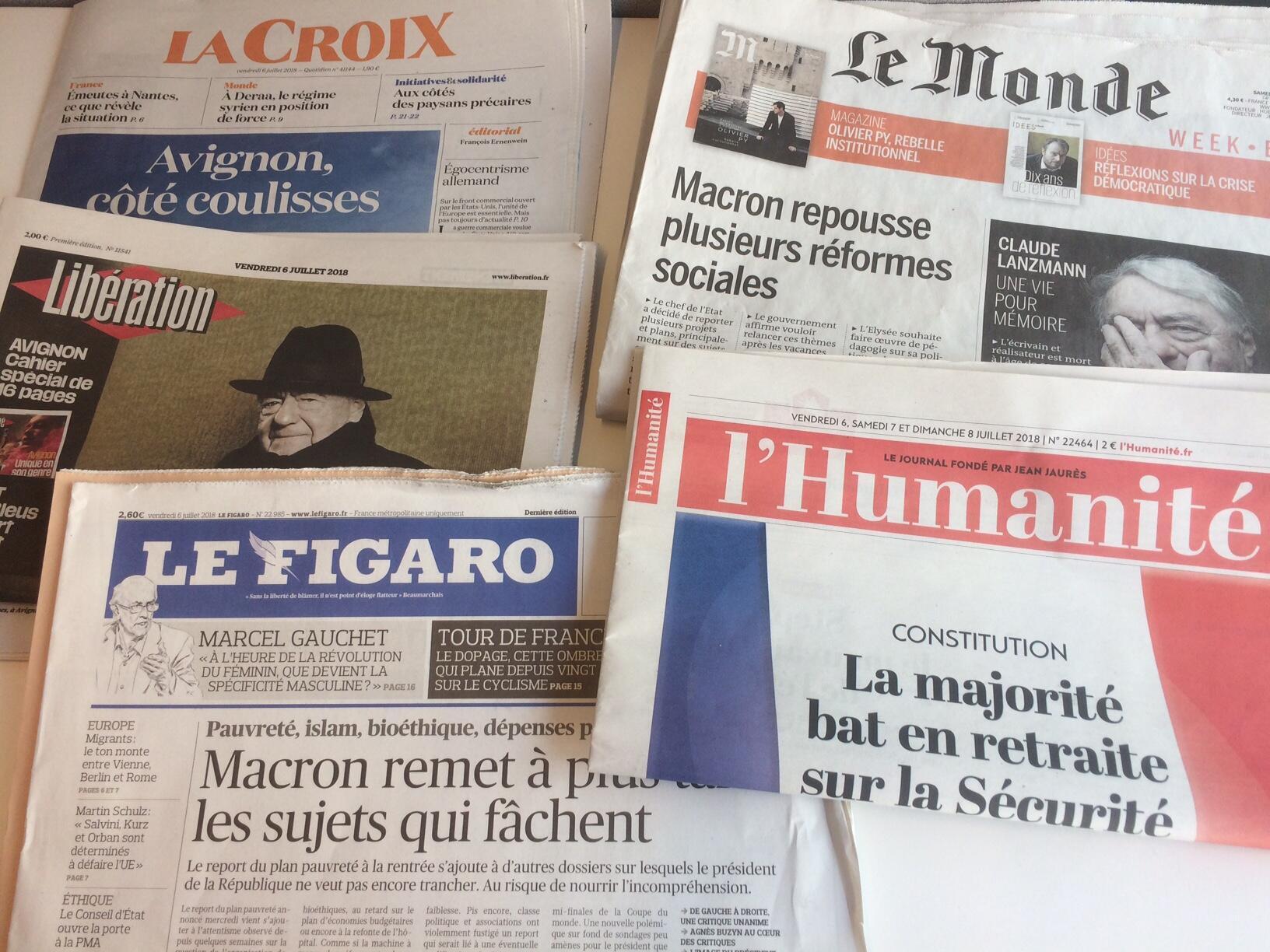 Primeiras páginas dos jornais franceses de 06 de julho de 2018