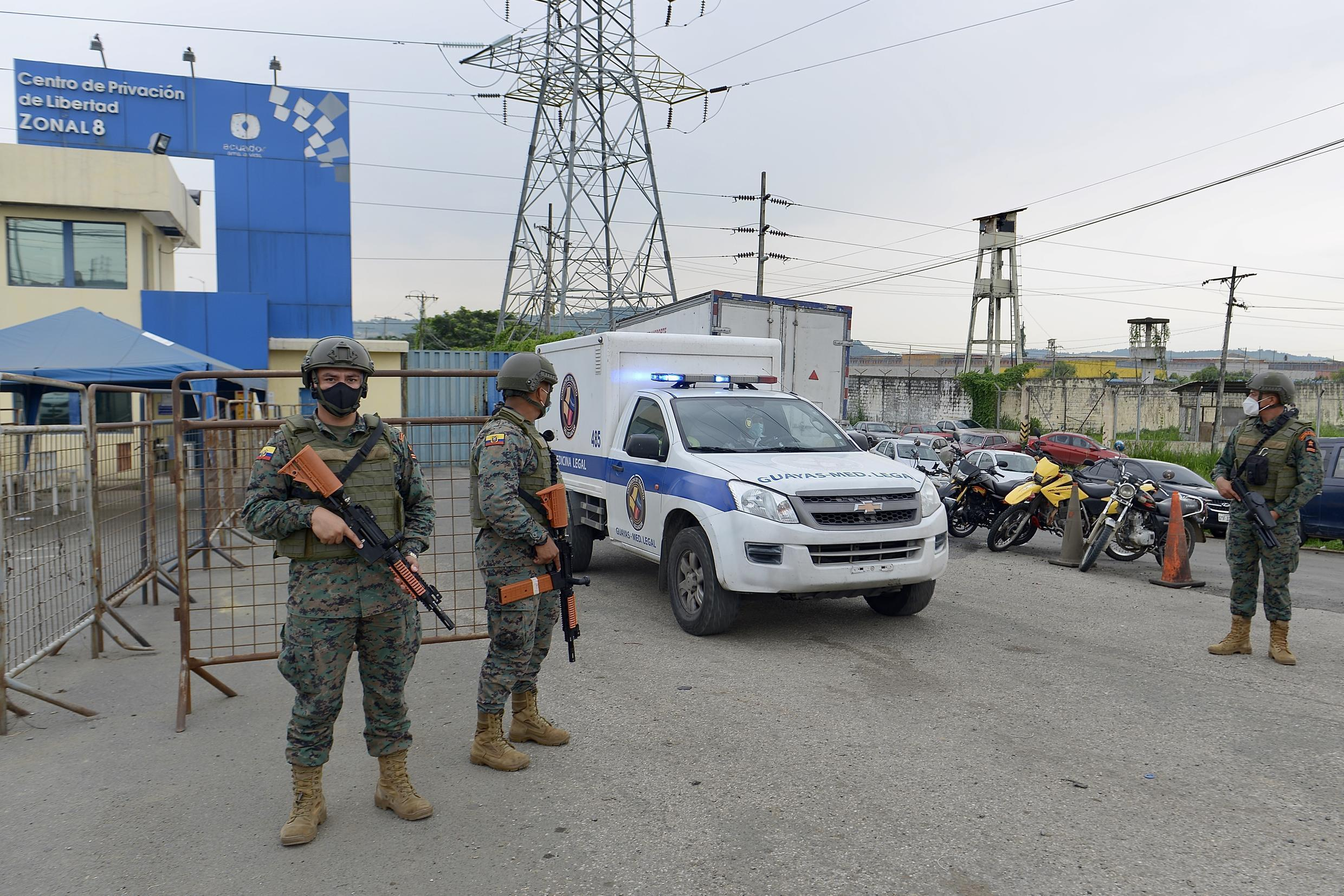 Officials say 37 prisoners died at two jails in thewestern port city of Guayaquil, 34 at a prison in Cuenca in the south, and eight in the central Andean town of Latacunga