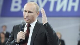 Le Premier ministre russe Vladimir lors d'un meeting de campagne, le 29 février 2012.