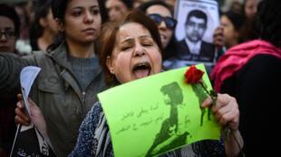 Environ 200 Egyptiennes étaient réunies au Caire pour manifester et accuser la police du meurtre de Shaima al-Sabbagh, le 29 janvier 2015.
