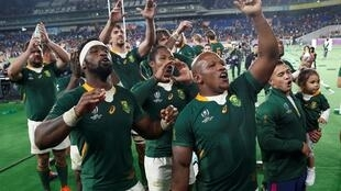 South Africa players celebrate after the match.