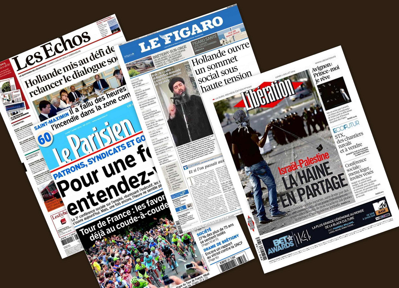 Capa dos jornais franceses Les Echos, Le Figaro Libération e Le Parisien desta segunda-feira, 07 de julho de 2014