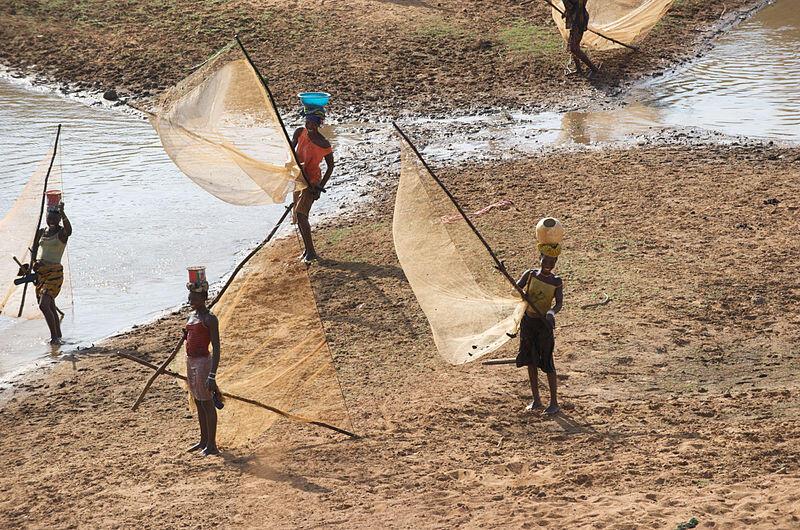 Femmes en train de pêcher sur les bords du fleuve Niger.