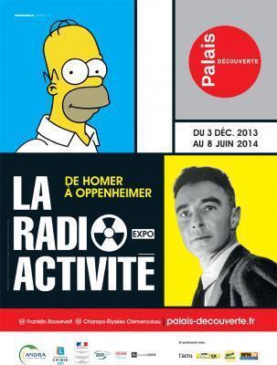 Affiche de l'exposition La Radioactivité, de Homer à Oppenheimer.