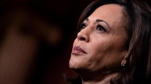 Esta imagen de archivo, tomada el 31 de enero de 2020 en Washington, muestra a la senadora demócrata por el estado de California Kamala Harris durante una conferencia de prensa en Capitol Hill