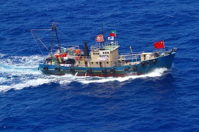 Barco pesqueiro de ativistas chineses ao largo do arquipélago disputado por China e Japão.