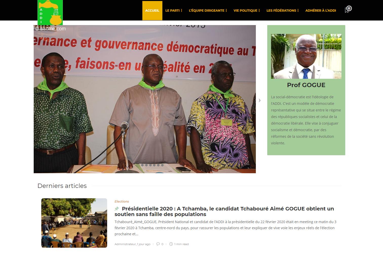 Aimé Tchabouré Gogué est le candidat de l'ADDI pour l'élection présidentielle togolaise en 2020.