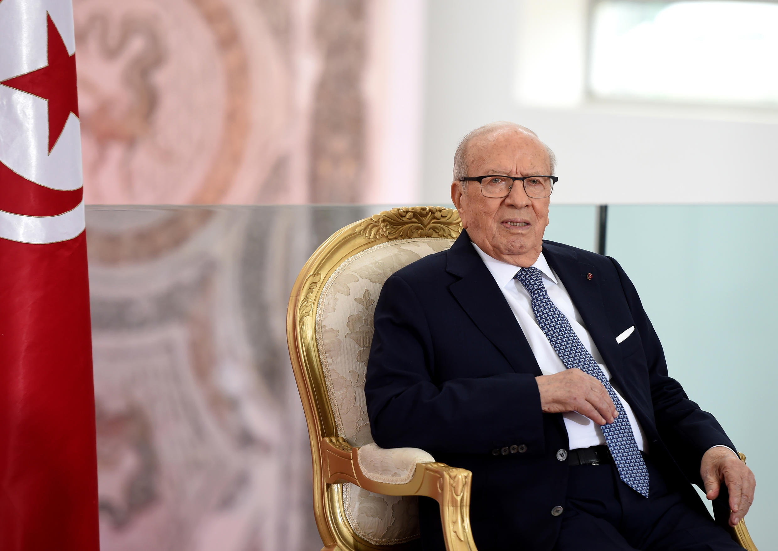 Tunisia's President Beji Caid Essebsi at a ceremony in honour of the victims who died in the terrorist attack on the national Bardo Museum, Tunis, 18 November 2016