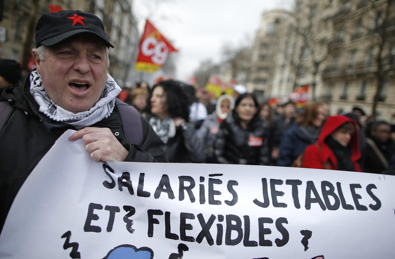 French workers demonstrating last week