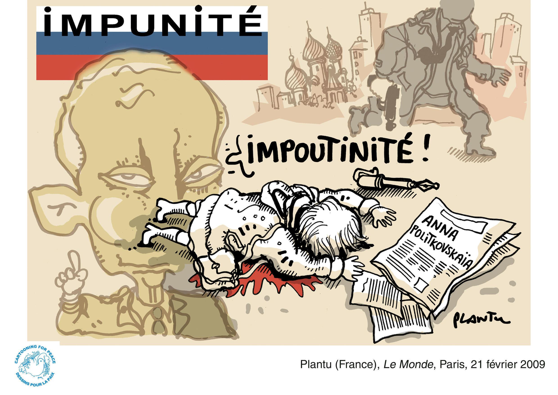 Charge de Plantu para Le Monde.