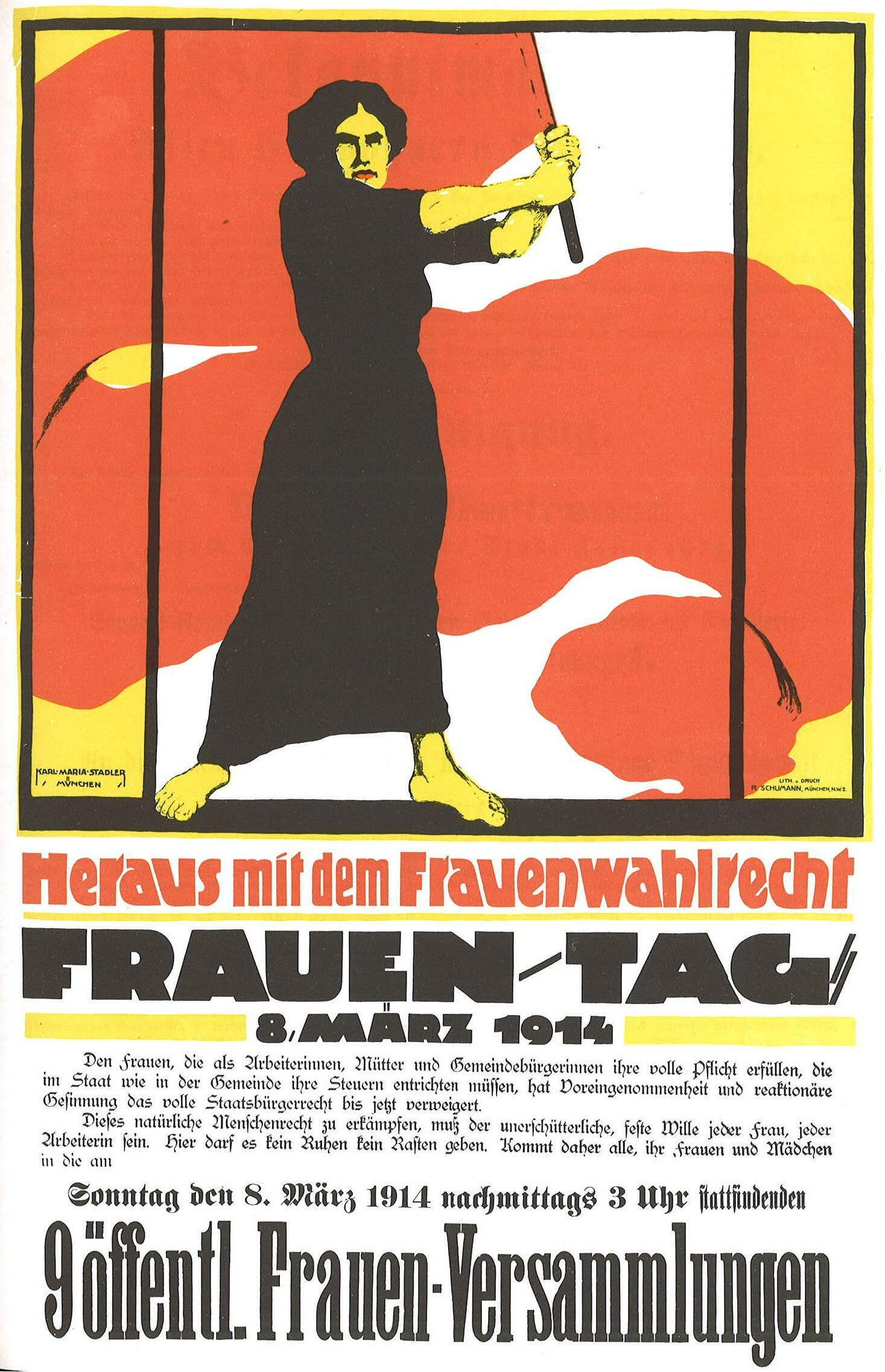 A German poster, which was banned, for International Women's Day in 1914
