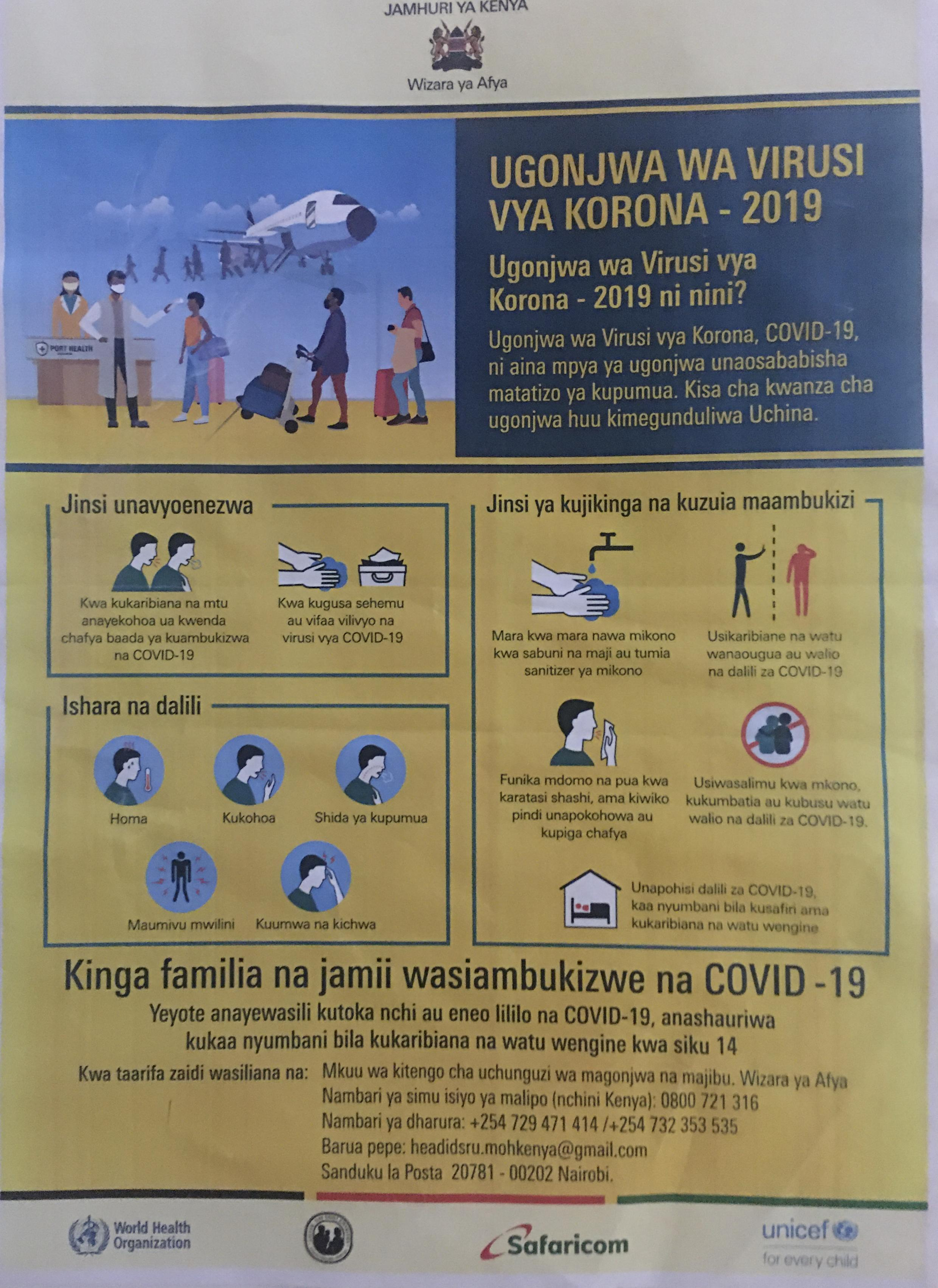 Kenyan government advisory on combatting the spread of CoVid-19