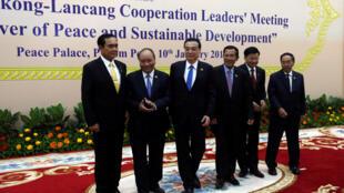 Lãnh đạo 6 nước tham dự Diễn đàn Hợp tác Lan Thương - Mêkông  tại Phnom Penh Cam Bốt ngày 10/01/2018.