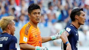 Le gardien de but Eiji Kawashima lors de Pologne-Japon en Coupe du monde 2018.