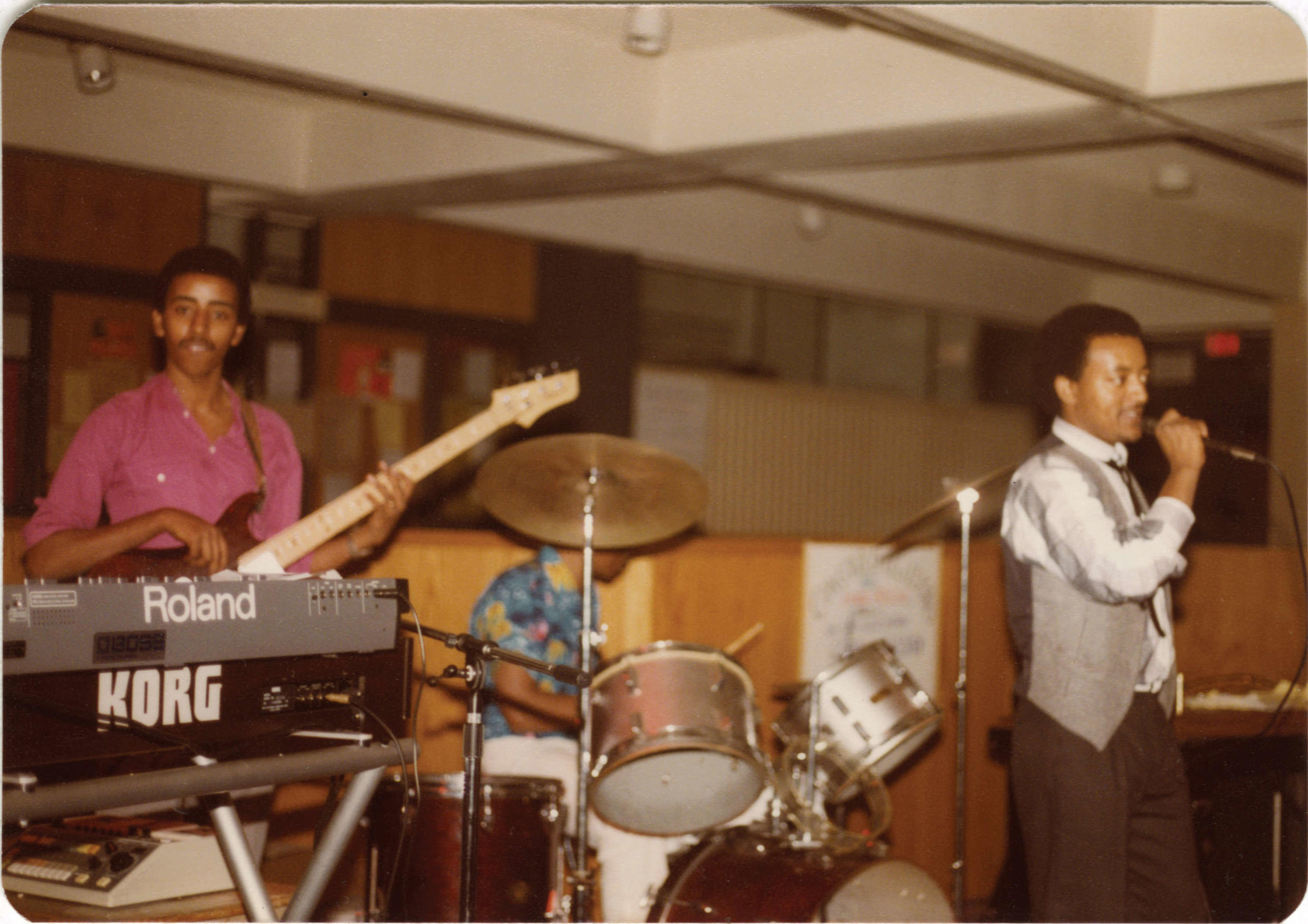 Admas played regularly for the Ethiopian expatriate community, many of whom had fled to Washington to escape the terror of the Derg. This photo shows Henock on bass, Yousef on drums and guest vocalist Simeon Beyene.