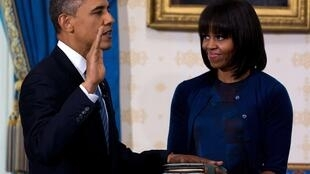 Obama y su esposa, 20 de enero de 2013 en la Casa Blanca.