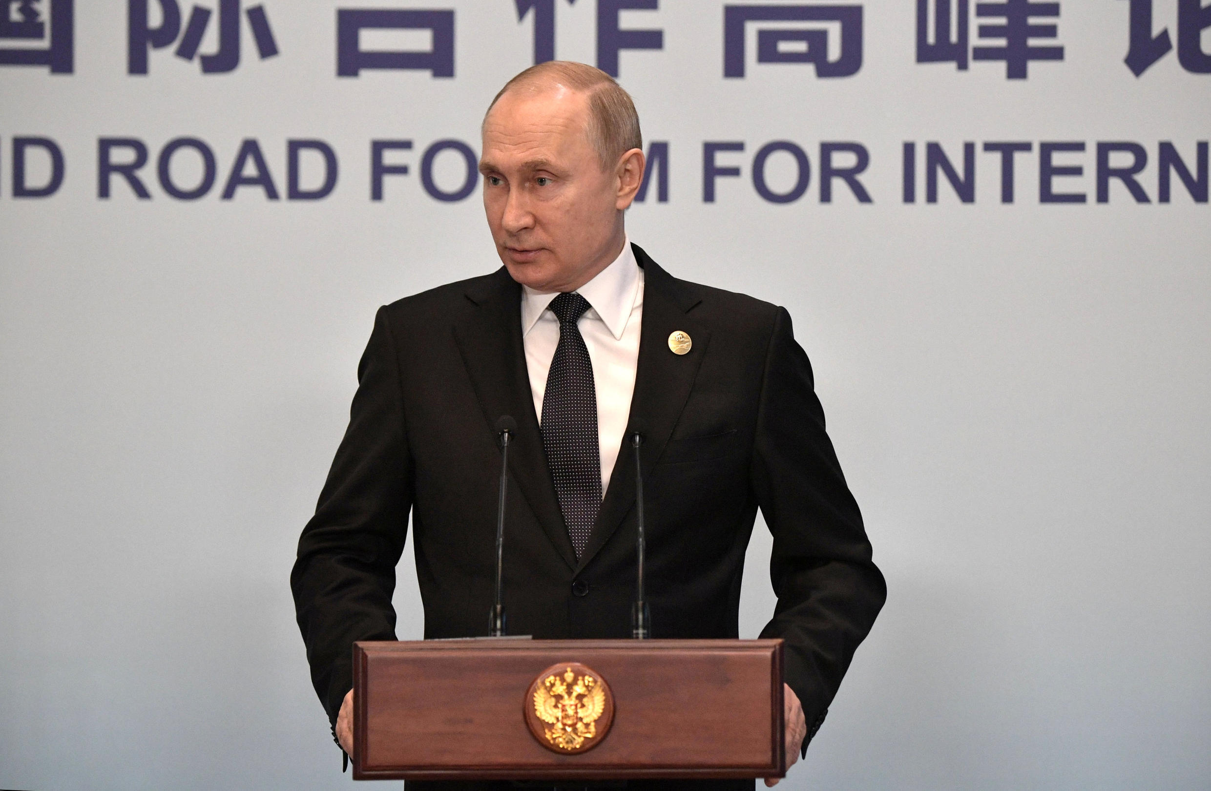 Russian President Vladimir Putin, seen here in Beijing in April, was to meet US Secretary of State Mike Pompeo to discuss arms control in Sochi on Tuesday.