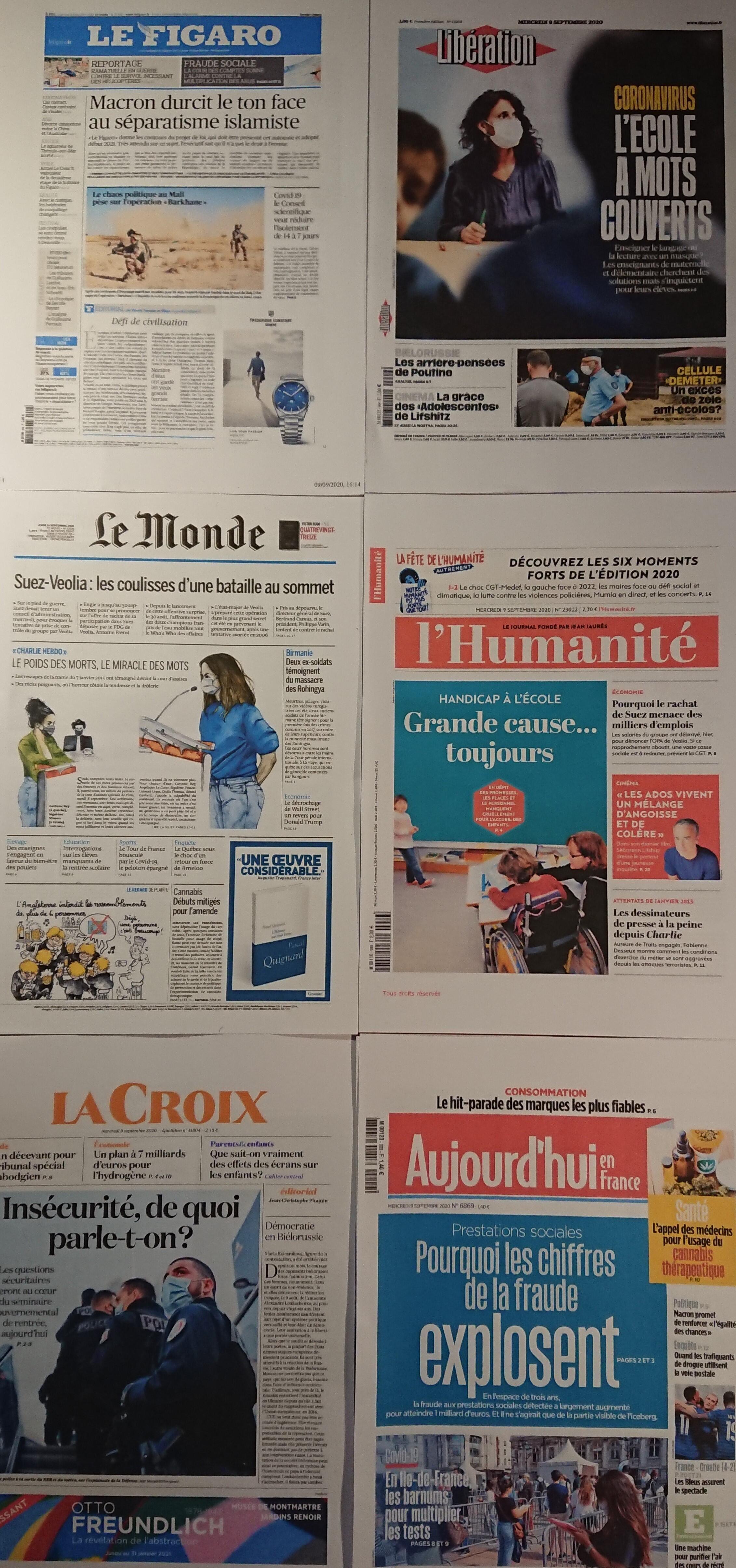 Diários franceses 09 09 2020