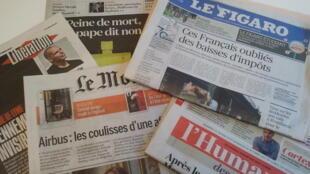Primeiras páginas dos jornais franceses de 13 de outubro de 2017