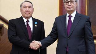 Уходящий президент Казахстана Нурсултан Назарбаев (слева) и его преемник Кысым-Жомарт Токаев. 20 марта 2019 г.
