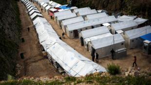 Camp de réfugiés de l'île de Chios, en Grèce, le 16 mars 2017.