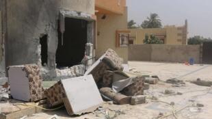 8月10日利比亚首都的黎波里,民兵武装冲突造成的破坏。