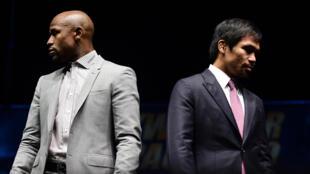 L'Américain Floyd Mayweather (à gauche) et le Philippin Manny Pacquiao.