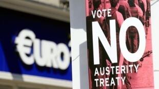 """Afiche para el """"No"""" al pacto de austeridad."""