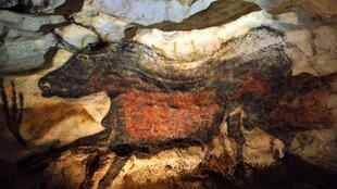 """The """"painted gallery"""" in the Lascaux prehistoric art Cave near the village of Montignac in southwest France."""