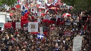 Thousands of demonstrators marched against student tuition hikes in Montreal, Quebec, 22 May, 2012