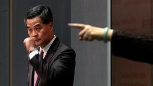 香港特首梁振英2013年1月16日在发表施政报告后的一次记者会上。