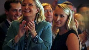 """法國""""國民陣線""""主席瑪麗-勒龐 ( Marine Le Pen 左)和她的外甥女法國議員瑪麗榮 -馬萊莎爾- 勒龐(Marion Marechal-Le Pen)"""