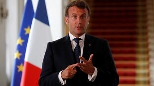 French president Emmanuel Macron at the Elysée Palace in Paris on 4 May 2020.