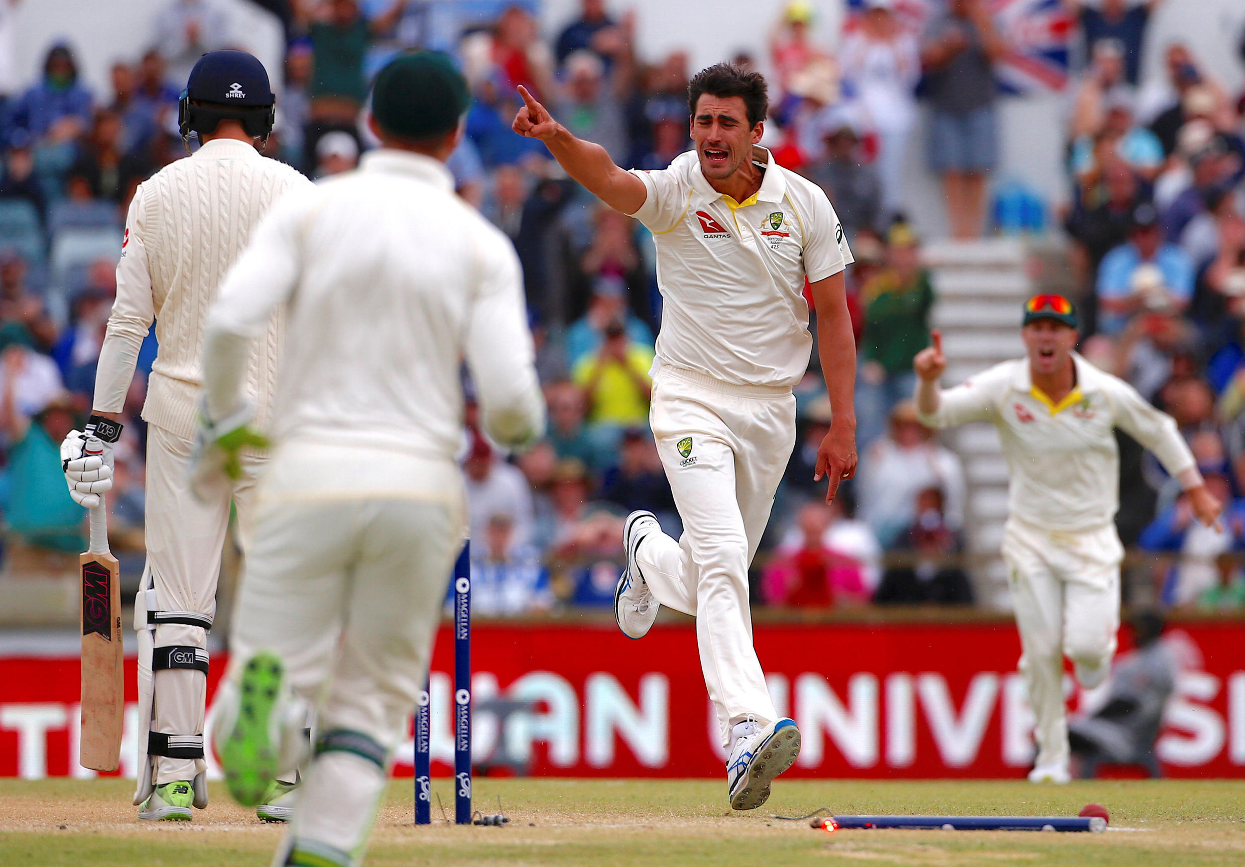 Australia's Mitchell Starc celebrates after bowling England's James Vince in the third Ashes Test at the Waca ground in Perth.