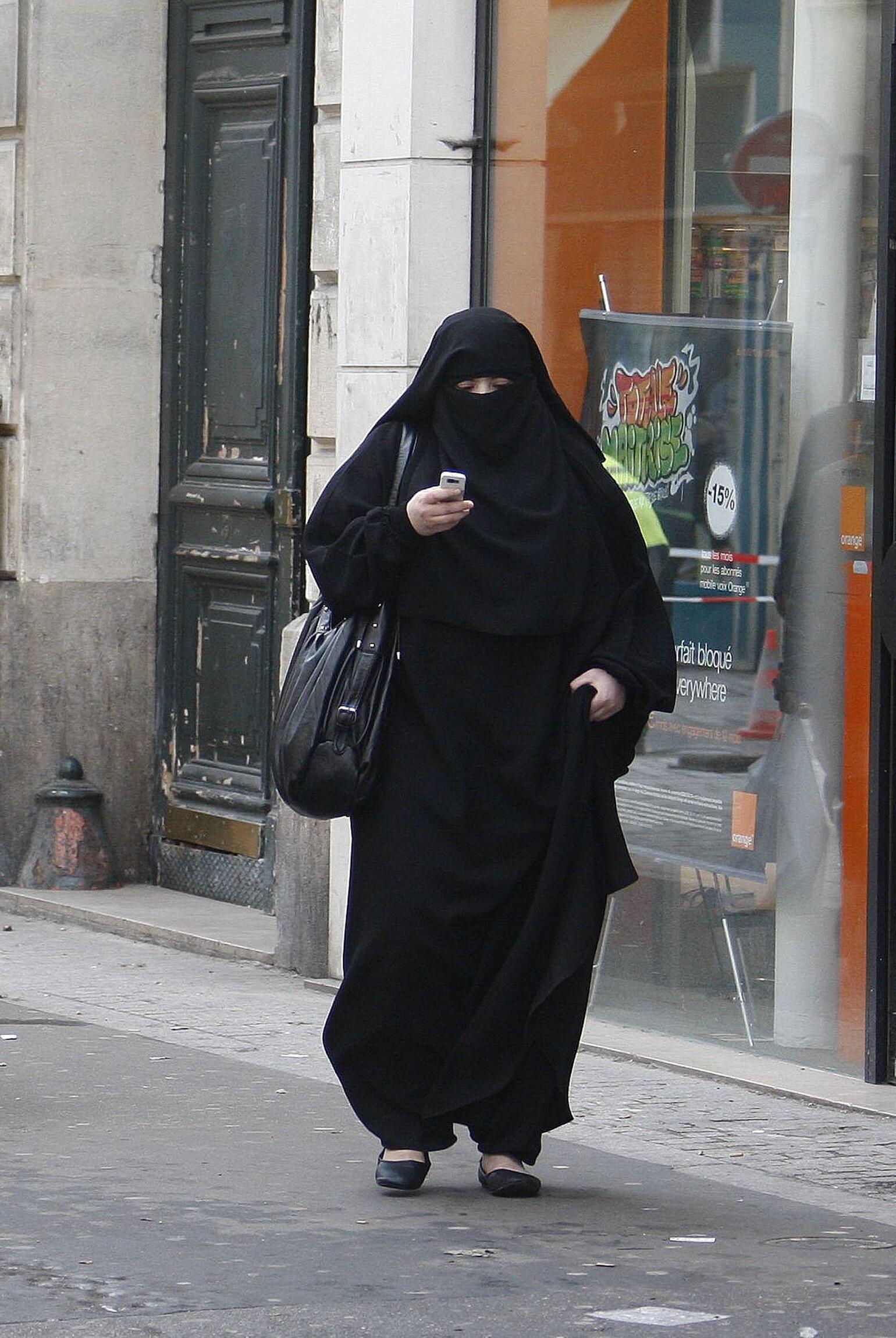 A woman wearing a burka in Saint-Denis, near Paris