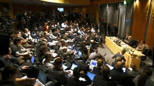 Chủ tịch FIFA Sepp Blatter họp báo tại Zurich ngày 21/12/2015.
