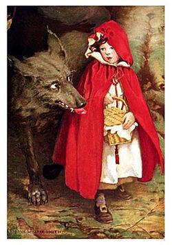 Cô bé Quàng khăn đỏ, ảnh minh họa của Jessie Willcox Smith, năm 1911 (wikipedia)