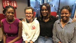 Olivia Mvondo, co-fondatrice de Kmerpad ; Tara Heuzé-Sarmini, présidente de l'association Règles élémentaires, Diara Ndiaye, et Aicha Diakité, médecin généraliste.