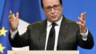 Le président Hollande présente ses vœux à Tulle, en Corrèze, le 16 janvier 2016.