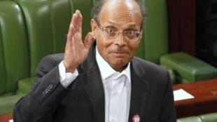 Moncef Marzouki, le président  tunisien sortant, à l'Assemblée constituante tunisienne en 2011.