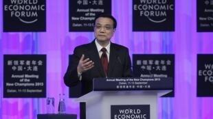李克强在大连夏季达沃斯论坛上 PM chinois LI Keqiang à Dalian le 11 septembre 2013