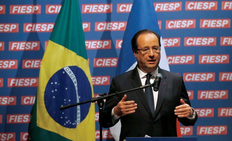法國總統弗朗索瓦·奧朗德在巴西聖保羅2013年12月13日